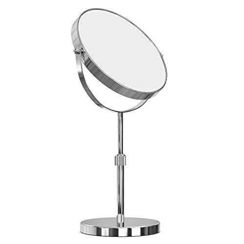 SONGMICS Espejo Cosmético de Mesa, Altura Regulable, 10x Magnificación, Doble Cara, Giratorio a 360º...