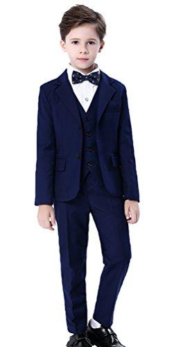 Cloud Kids Kinder Anzug Blau Jungen Festlicher Anzug mit Jacke Hemd Weste Fliege Hose Körpergröße 150