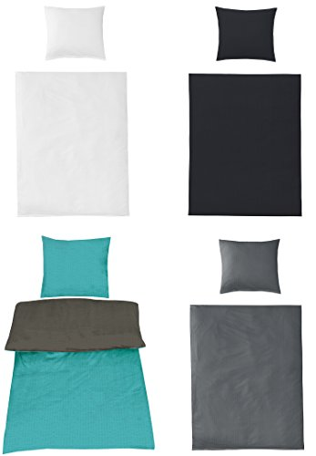Uni Bettwäsche Baumwolle Seersucker BÜGELFREI in 4 Farben und verschiedenen Größen, 2X 155x220 + 2X 80x80 Anthrazit