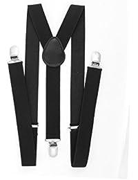 sourcingmap® Collier métal réglable bretelles Bretelles élastiques Largeur 2.5cm noir