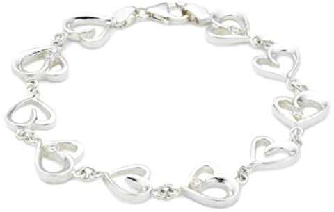 MiChic Premium Silver Cubic Zirconia Heart Shaped Link
