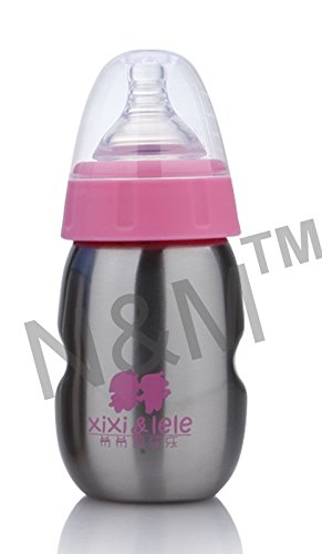 N&M 160 ml Baby Steel Vacuum Feeding Bottle with Attractive Color - Pink