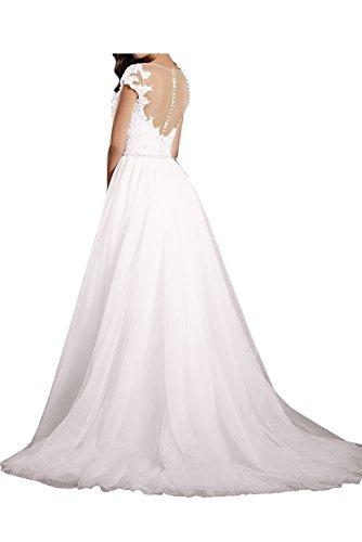 Sunvary Glamour Neu Spitze Kurzarm Hochzeitkleider Lang Abendkleider ...