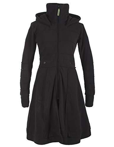 Vishes - Alternative Bekleidung - Langer Warmer Weicher Damen Winter Fleecemantel Kapuze Stehkragen schwarz 46