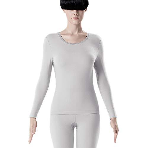 Aida Bz Natürliche Wolle Damen Thermo-Unterwäsche, Rundhals Herbstkleidung Silver Skin 5 antibakterielles atmungsaktives System-Top-Shirt,Whitegray,M - Scoop Neck Thermal Top