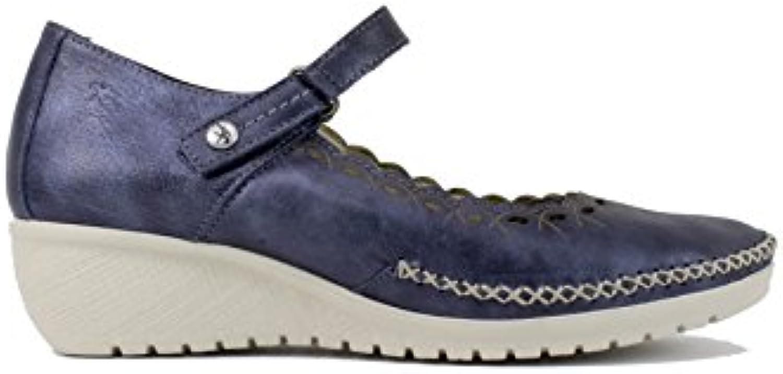 Fluchos - Zapato Mercedes con Cuña Azul - Azul, 38  -