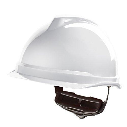 MSA V-Gard 520 störlichtbogengeprüfter Elektrikerhelm EN 397 44V AC EN 50365 1000 V AC EN 13463-1 ohne Belüftung, mit Fleece-Innenausstattung, Farbe: weiß
