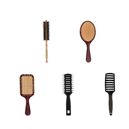 B Blesiya 5 Piezas Antiestática Brocha de Pelo Cepillo de Cabello Masaje Peine de Peluquría