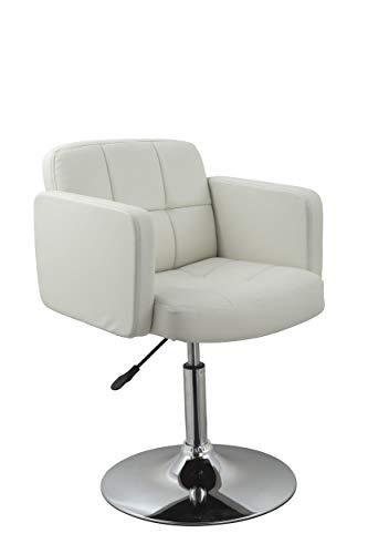 Duhome Elegant Lifestyle Clubsessel Sessel Kunstleder Weiß Esszimmerstuhl Lounge Sessel höhenverstellbar Drehbar Farbauswahl - Typ 524A
