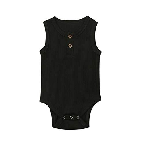 feiXIANG Strampler Ärmellos Bodysuit Feste Kleidung Unisex - Baby Kinder Mädchen Jungen Neugeborenen Kleidung (Schwarz,100)
