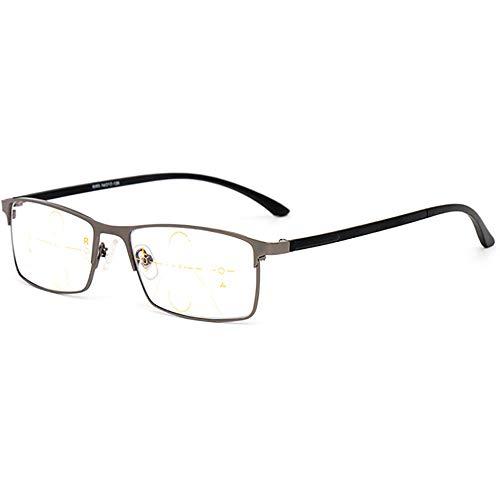 SHEEN KELLY 3 Power Focus Progressiv Lesebrille Herren Rechteckig Multifocus-Brille Schwarzer Metallrahmen Bifokal rechteckig Geschäft