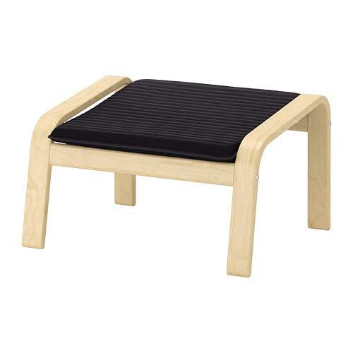 Unbekannt IKEA Hocker POÄNG in Birke mit Polster KNISA schwarz - passend zum Schwingsessel