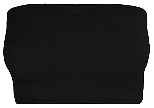 Re Tech UK - Damen Bandeau-Top - bauchfrei - ohne Träger - Stretchmaterial - einfarbig - Schwarz - 44-46 Tube Top Lycra
