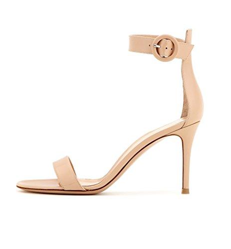 EDEFS Damen Peep Toe 80mm High Heel Sandalen mit Schnalle Sommer Stilettsandalen Knöchelriemchen Schuhe Beige