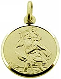 CJoL - 9ct Yellow Gold Boys 8mm Round St Christopher Pendant With Optional Chain In Gift Box