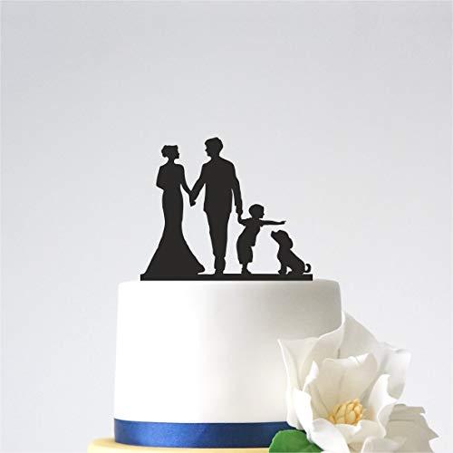 Ethelt5IV Herr und Frau Cake Topper Hochzeitstorte Topper mit Nachname und Hund lustige Cake Topper personalisierte Baby Kind Cake Topper Familie Cake Topper