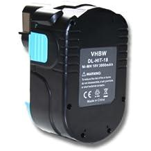 Batería NI-MH 3000mAh 18V color negro HITACHI sustituye EB 1812S, EB 1814SL, EB 1820L, EB 1824L, EB 1826HL, EB 1830H, EB 1830HL, EB 18B, EB 18B EB1820