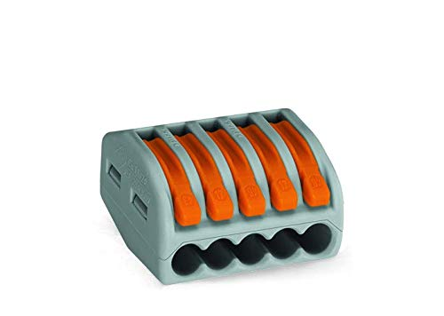 WAGO 222-415 Verbindungsklemme, 5 Pole, wieder lösbar,1er Pack (1 x 40 Stück) -