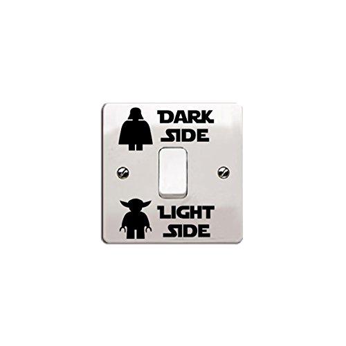 """Star Wars Vinyl-Aufkleber/Abziehbild """"Dark Side – Light Side"""" für Lichtschalter (Style 2, Schwarz)"""