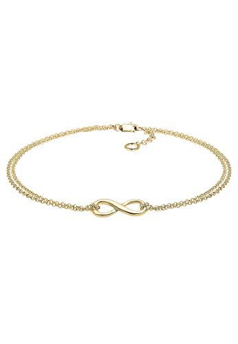 Elli Premium Armband Damen Infinity Unendlichkeit Symbol in 375 Gelbgold