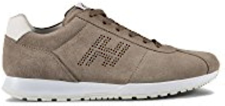 Hogan Herren HXM3210Y140FKF206B Weiss/Braun Wildleder Sneakers