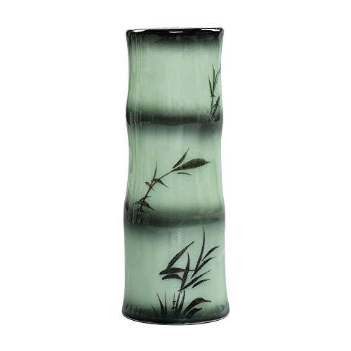 ufengke®-ts Jarrón de Cerámica,Florero de Porcelana Blanca con Hojas de Bambú Negro,Florero Decorativo Moderno Hecho A Mano,17cm(6.69')