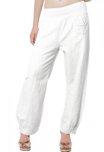 CASPAR KHS006 leichte bequeme Damen Sommerhose / Leinenhose Größen 36 S bis 46 XXXL, Farbe:weiss;Größe:42 XL UK14 US12