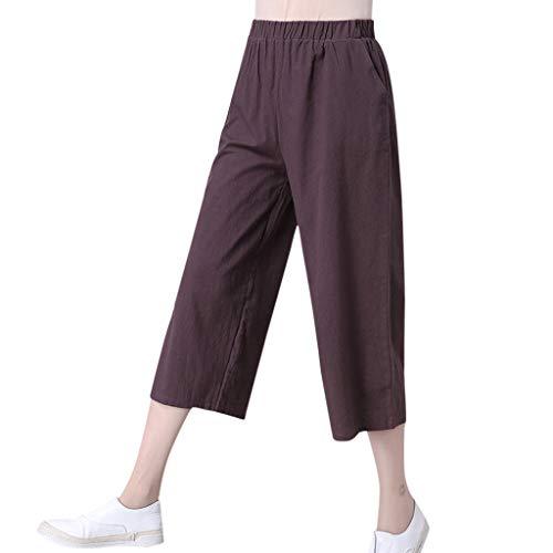 WOZOW Capri Weites Bein Palazzo Hosen Damen Solid Bettwäsche Baumwolle Blend Elastisch Elastic High Waist Casual Lose Loose Bequem Crop Trousers (2XL,Braun) -