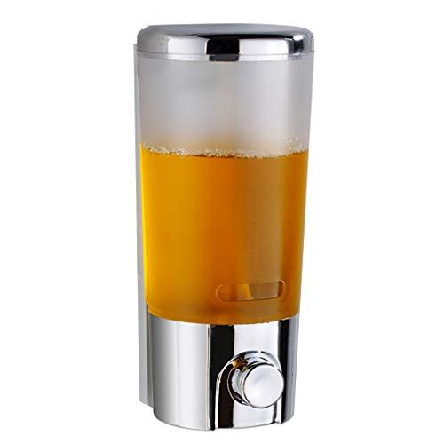 Einfache Installation Press Soap Dispenser Wandmontierter Punch-Free Handseifenspender Doppelgitter Transparent Matt Seifenspender 400 / 800ML Einfach zu erreichen (Color : Plating, Größe : Single) -