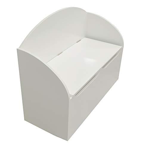 Demeyere Coffre à Jouets en Bois pour Enfant-Blanc Mat-Grande Capacité de Rangement-Idéal pour la Chambre-Collection Tresor, 69,5 cm x 29,5 cm x 55,5 cm