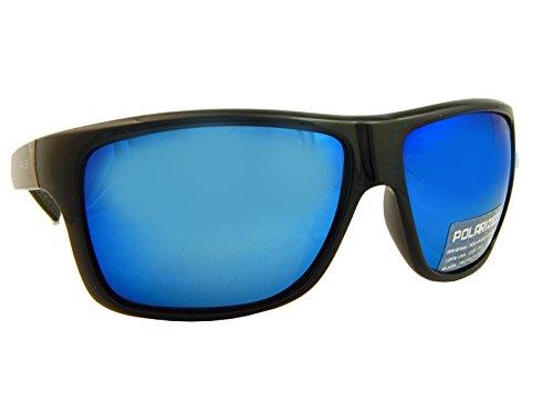 Messori Herren Polarized Sonnenbrille verspiegelt Blau, Prius PRWA002 Gestell Schwarz Glanz