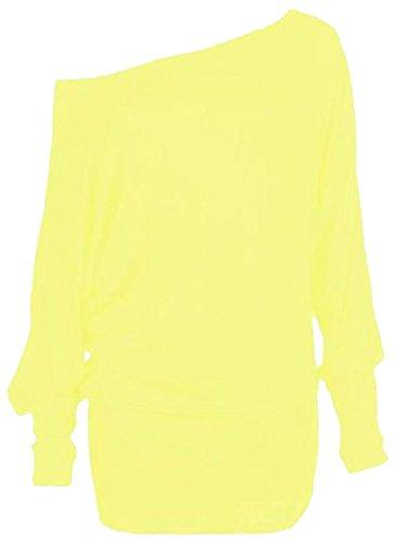 Chocolate Pickle ® Neue Damen Plus Größe Fledermausärmel Slouchy Plain Baggy Tops 36-62 Yellow