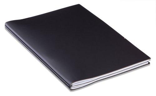 X17 A4+ ModeSkin 2er Projektmappe / Außendienstmappe schwarz mit Notizen + Doppeltasche + Schnellhefter - das einzig wahre RINGBUCH, Organizer, modulares Notizbuch aus Lederfasematerial