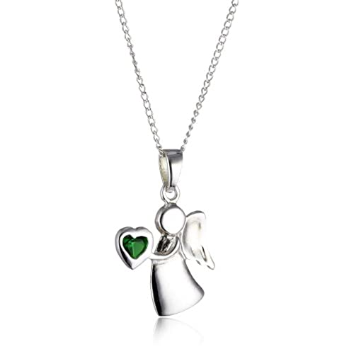 Silver angel pendants amazon michic childrens may silver guardian angel birthstone pendant on a 36 41cm curb chain aloadofball Choice Image