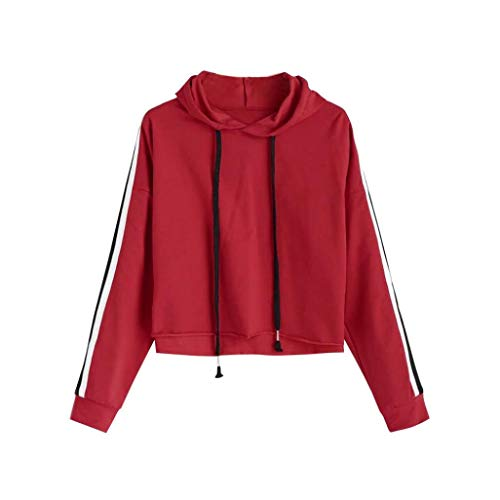 Briskorry Damen Pullover Gestreift Hoodie Sweatshirt Langarm Kapuzenpullover Crop Tops Bluse Oberteile