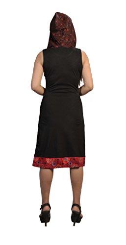 Damen des BaumwollSleeveless Kleid mit bunten Kreis Patch-Entwurf Schwarz