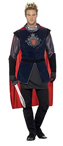 Tamaño adulto mens medieval señor estilo rey arthur de lujo vestido de traje incluye una tapa de estilo manga larga tabbard con un diseño de escudo real y une cabo rojo negro botas cubiertas guante estilo guantes y una corona de plástico.