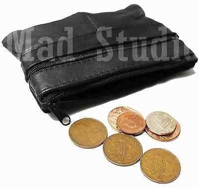 Porte-Monnaie Pour Hommes Femmes Cuir Souple Noir Pochette Pour Pièces Avec Fermeture Eclair RM04