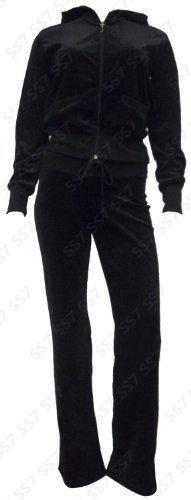 velour Costume Femmes Survêtement Complet, taille, 8 pour 16 - Noir, 36