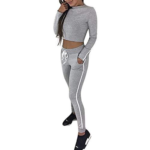 Femmes 2 PièCe SurvêTement Combinaison Manches Longues Top + Pantalon Joggers Combishorts De Sport Combinaisons Rayé DéContracté Pas Cher AméLiorer (Gris, S(EU=36))