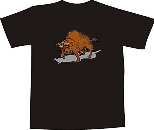 ... Comic Design - wütender großer Stier mit Nasenring Mehrfarbig. T-Shirt  E964 Schönes T-Shirt mit farbigem Brustaufdruck - Logo / Grafik -