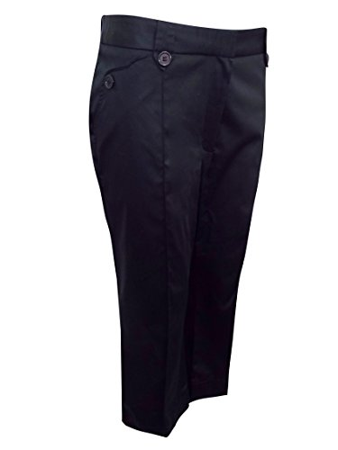 major-highstreet-store-black-cotton-rich-double-button-cropped-trousers-size-18-med