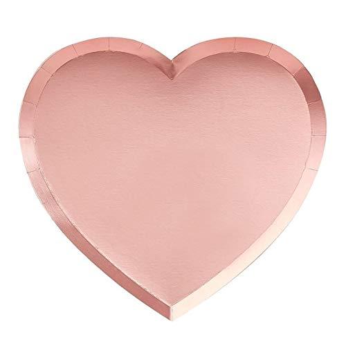 Ginger Ray Pappteller in Herzform, 8 Stück, Aufschrift Bee My Valentine, Mehrfarbig