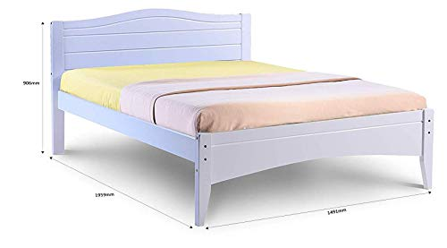 Humza Amani Double Bed in White 4'6 Double Bed Wooden Frame WHITE Lauren Laura James Tillbury (double 4ft6 (135x190))
