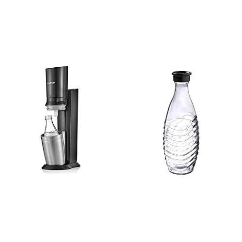 Sodastream Crystal Gasatore d'Acqua Frizzante, Acciaio Satinato, Titan, Cilindro Gas Non Incluso & 1047106980 Bottiglia in Vetro Penguin