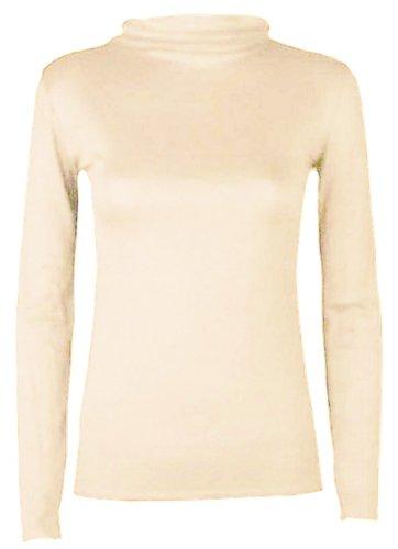 Hot Hanger, maglietta da donna, con collo dolcevita e maniche lunghe Cream