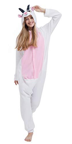 (SAMGU Einhorn Adult Pyjama Cosplay Tier Onesie Body Nachtwäsche Kleid Overall Animal Sleepwear Erwachsene Goat S)