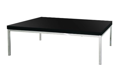 Premier Housewares Coffee Table with Black High Gloss/Chrome Legs - 40 x 67 x 97 cm