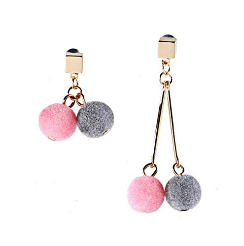 (HLII Frauen Ohrringe Zirkon Silber 925 Nadel- Crystal Elegant Haar Ball Asymmetrische M Schmuck Ohrringe)