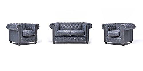 Original Chesterfield Sofa und Sessel – 1 / 1 / 2 Sitzer – Vollständig Handgewaschenes Leder – Vintage Schwarz
